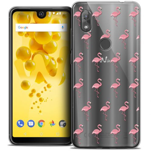 "Extra Slim Crystal Gel Wiko View 2 (6.0"") Case Pattern Les flamants Roses"