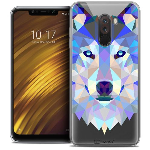 "Extra Slim Crystal Gel Xiaomi Pocophone F1 (6.18"") Case Polygon Animals Wolf"