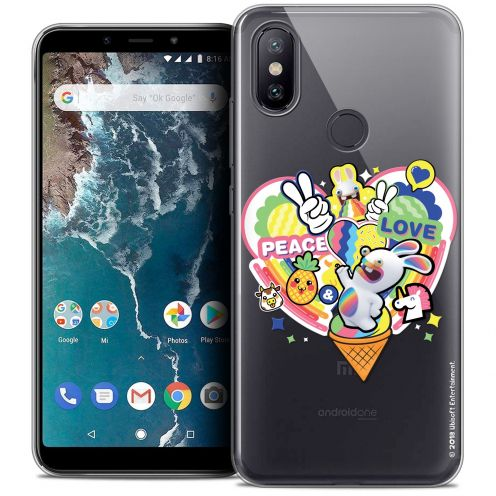 "Crystal Gel Xiaomi Mi A2 (5.99"") Case Lapins Crétins™ Peace And Love"