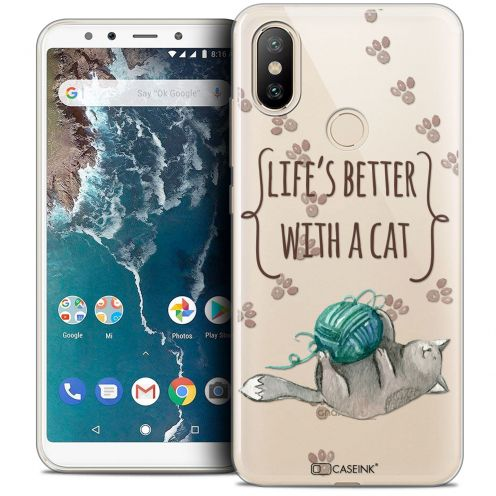 "Extra Slim Crystal Gel Xiaomi Mi A2 (5.99"") Case Quote Life's Better With a Cat"