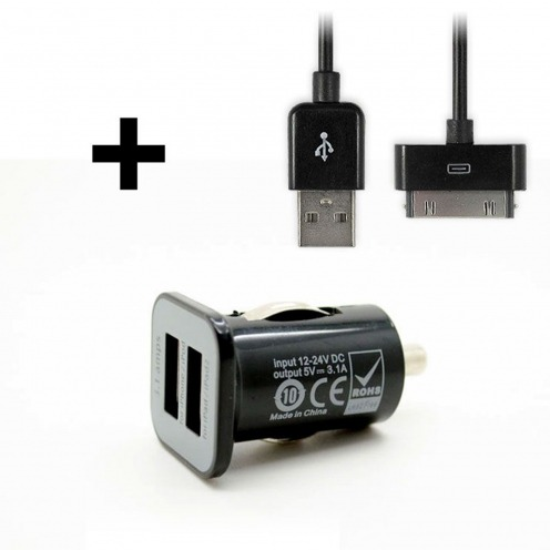 Micro car charger dual USB 3100mA iPad iPhone Black + Cable