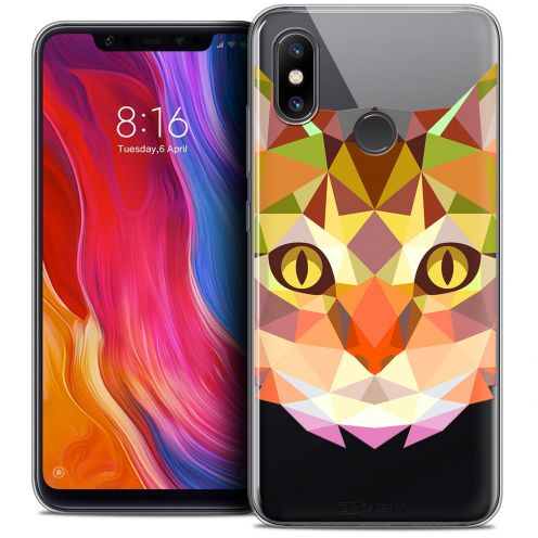 "Extra Slim Crystal Gel Xiaomi Mi 8 (6.21"") Case Polygon Animals Cat"