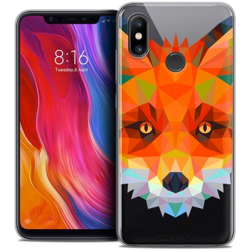 "Extra Slim Crystal Gel Xiaomi Mi 8 (6.21"") Case Polygon Animals Fox"