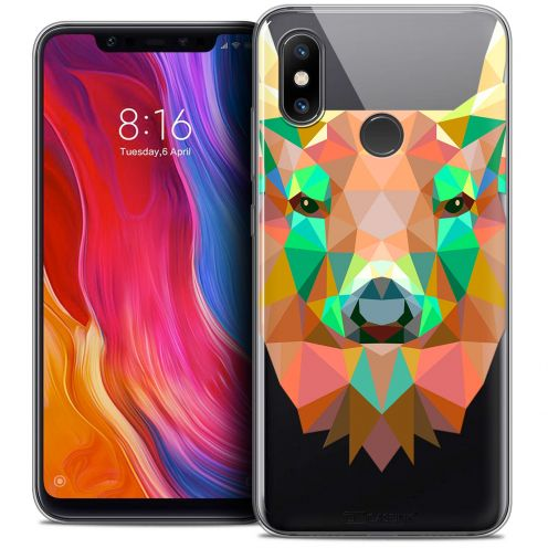 "Extra Slim Crystal Gel Xiaomi Mi 8 (6.21"") Case Polygon Animals Deer"