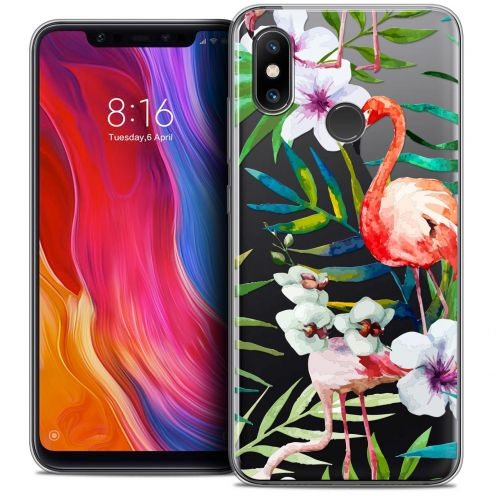 "Extra Slim Crystal Gel Xiaomi Mi 8 (6.21"") Case Watercolor Tropical Flamingo"