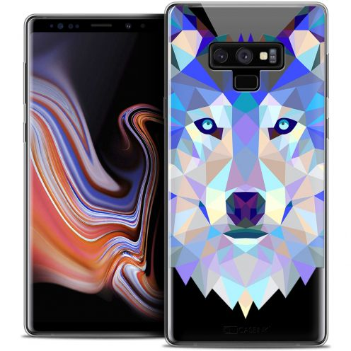 "Extra Slim Crystal Gel Samsung Galaxy Note 9 (6.4"") Case Polygon Animals Wolf"