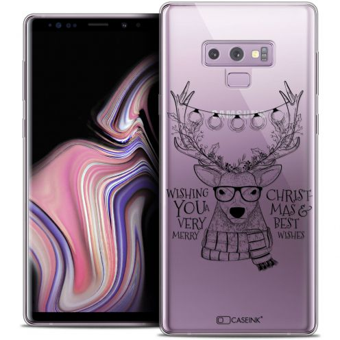 "Extra Slim Crystal Gel Samsung Galaxy Note 9 (6.4"") Case Noël 2017 Cerf Hipster"