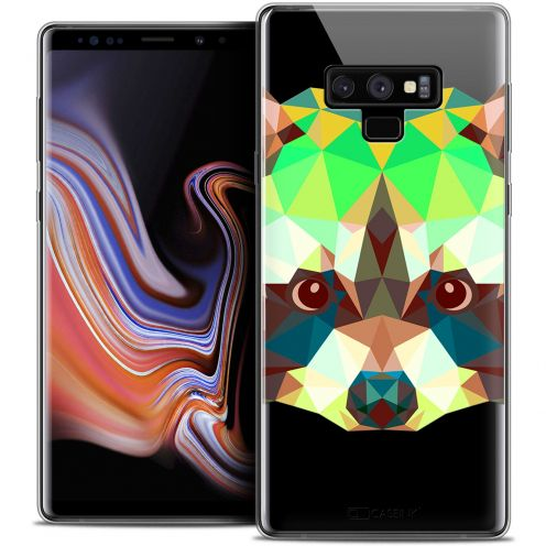 "Extra Slim Crystal Gel Samsung Galaxy Note 9 (6.4"") Case Polygon Animals Raton Laveur"