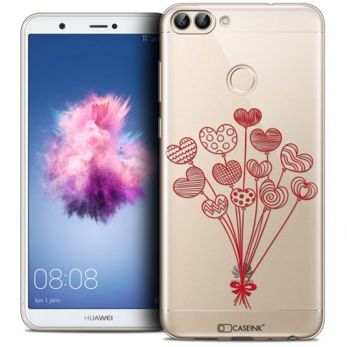"""Extra Slim Crystal Gel Huawei P Smart (5.7"""") Case Love Ballons d'amour"""