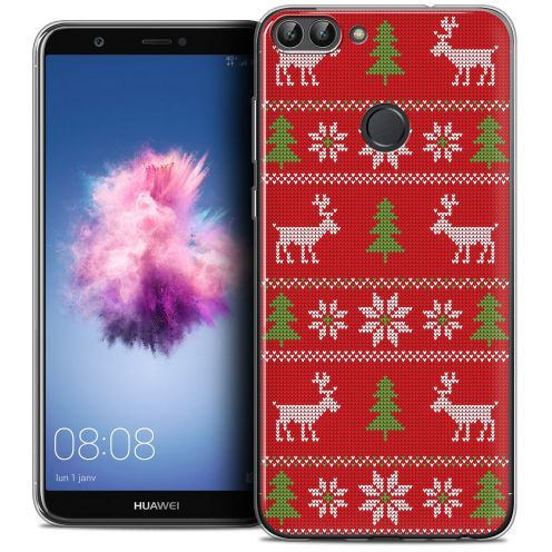 """Extra Slim Crystal Gel Huawei P Smart (5.7"""") Case Noël 2017 Couture Rouge"""