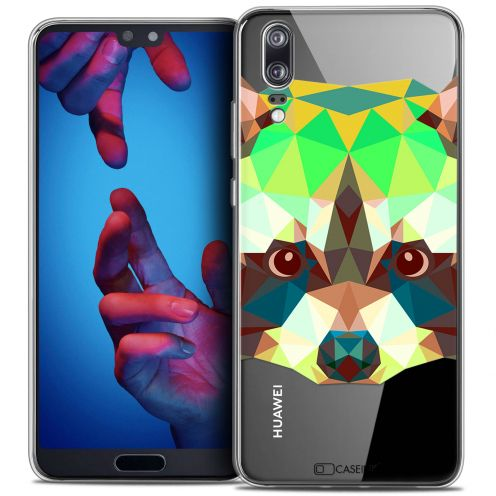 "Extra Slim Crystal Gel Huawei P20 (5.8"") Case Polygon Animals Raton Laveur"