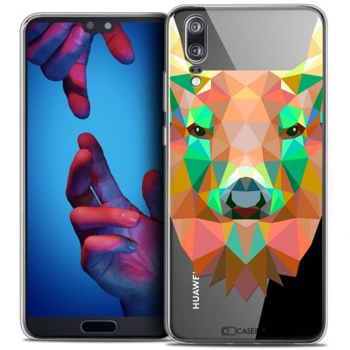"Extra Slim Crystal Gel Huawei P20 (5.8"") Case Polygon Animals Deer"