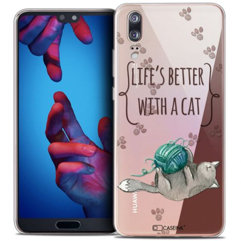 """Extra Slim Crystal Gel Huawei P20 (5.8"""") Case Quote Life's Better With a Cat"""