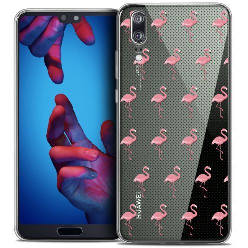 "Extra Slim Crystal Gel Huawei P20 (5.8"") Case Pattern Les flamants Roses Dots"