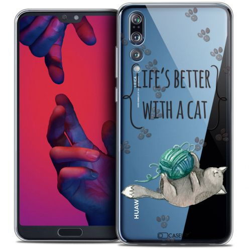 "Extra Slim Crystal Gel Huawei P20 PRO (6.1"") Case Quote Life's Better With a Cat"