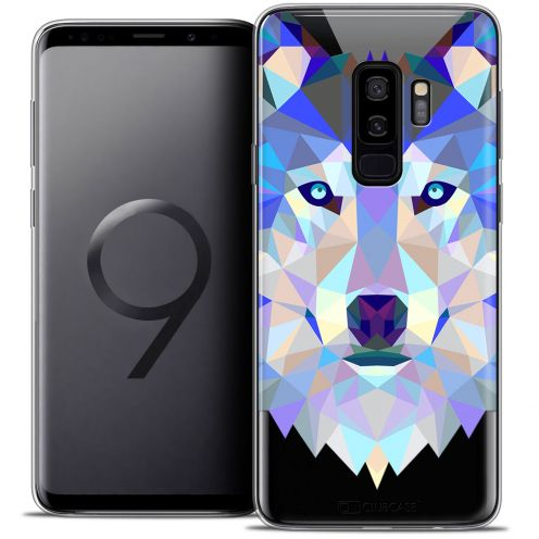 "Extra Slim Crystal Gel Samsung Galaxy S9+ (6.2"") Case Polygon Animals Wolf"