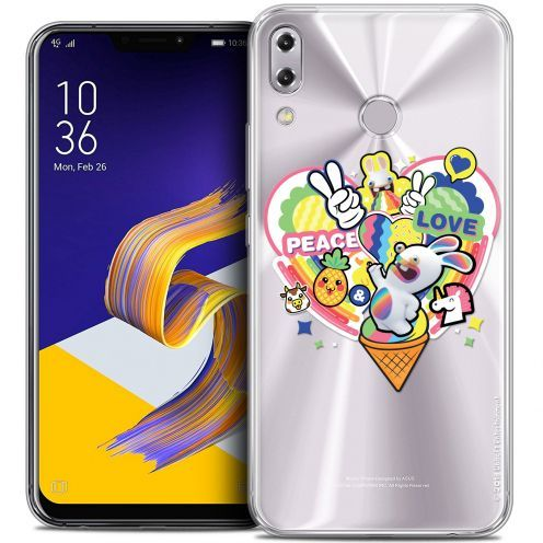 """Crystal Gel Asus Zenfone 5z ZS620KL (6.2"""") Case Lapins Crétins™ Peace And Love"""