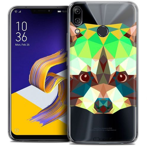 "Extra Slim Crystal Gel Asus Zenfone 5z ZS620KL (6.2"") Case Polygon Animals Raton Laveur"