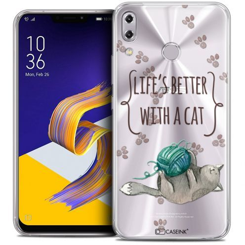 """Extra Slim Crystal Gel Asus Zenfone 5z ZS620KL (6.2"""") Case Quote Life's Better With a Cat"""