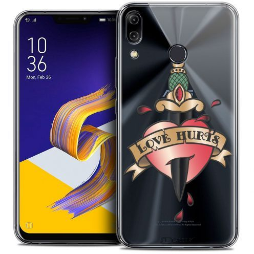 "Extra Slim Crystal Gel Asus Zenfone 5z ZS620KL (6.2"") Case Tatoo Lover Love Hurts"