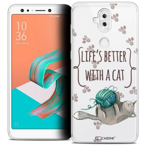 "Extra Slim Crystal Gel Asus Zenfone 5 LITE ZC600KL (6.0"") Case Quote Life's Better With a Cat"