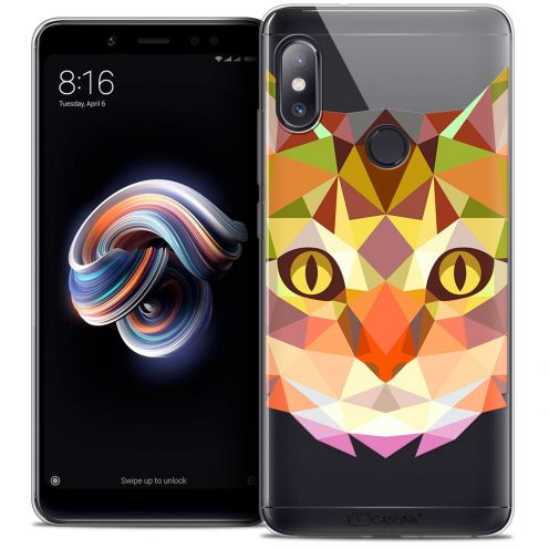 "Extra Slim Crystal Gel Xiaomi Redmi Note 5 (5.99"") Case Polygon Animals Cat"