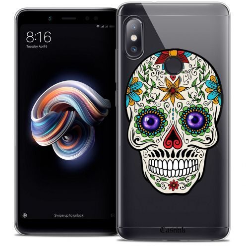 "Extra Slim Crystal Gel Xiaomi Redmi Note 5 (5.99"") Case Skull Maria's Flower"