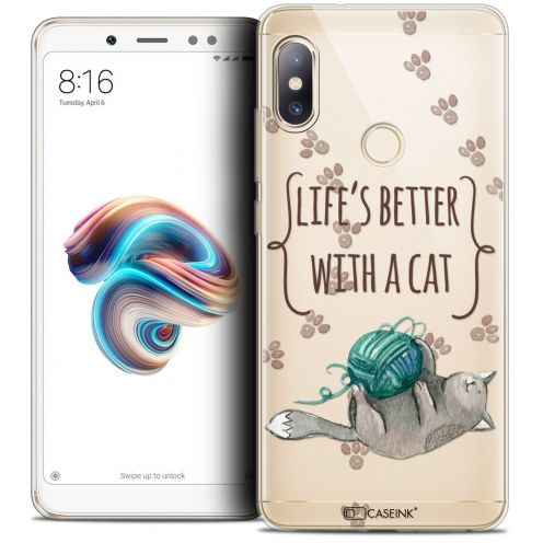 "Extra Slim Crystal Gel Xiaomi Redmi Note 5 (5.99"") Case Quote Life's Better With a Cat"