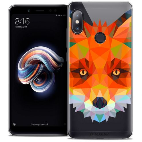"Extra Slim Crystal Gel Xiaomi Redmi Note 5 (5.99"") Case Polygon Animals Fox"