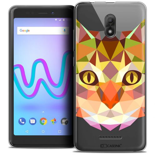 "Extra Slim Crystal Gel Wiko Jerry 3 (5.45"") Case Polygon Animals Cat"