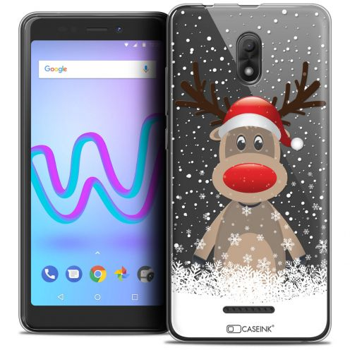 "Extra Slim Crystal Gel Wiko Jerry 3 (5.45"") Case Noël 2017 Cerf au Bonnet"
