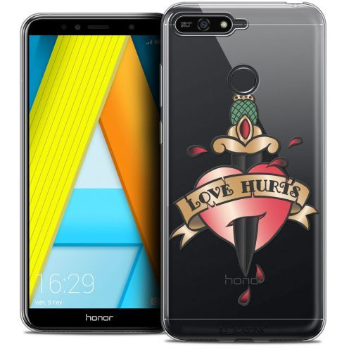 """Extra Slim Crystal Gel Honor 7A (5.7"""") Case Tatoo Lover Love Hurts"""