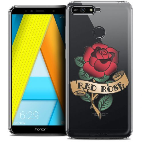 """Extra Slim Crystal Gel Honor 7A (5.7"""") Case Tatoo Lover Red Rose"""