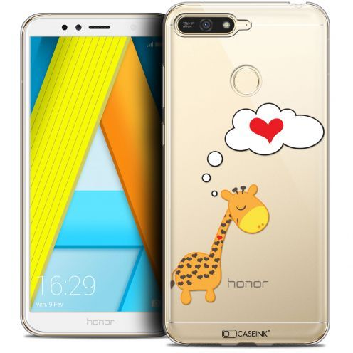 "Extra Slim Crystal Gel Honor 7A (5.7"") Case Love Girafe Amoureuse"
