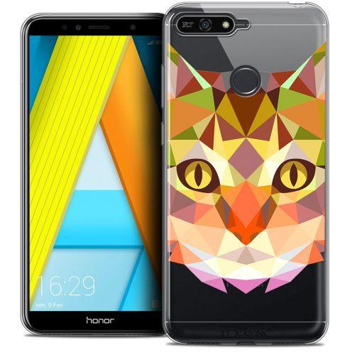 "Extra Slim Crystal Gel Honor 7A (5.7"") Case Polygon Animals Cat"