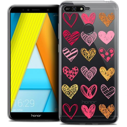 "Extra Slim Crystal Gel Honor 7A (5.7"") Case Sweetie Doodling Hearts"