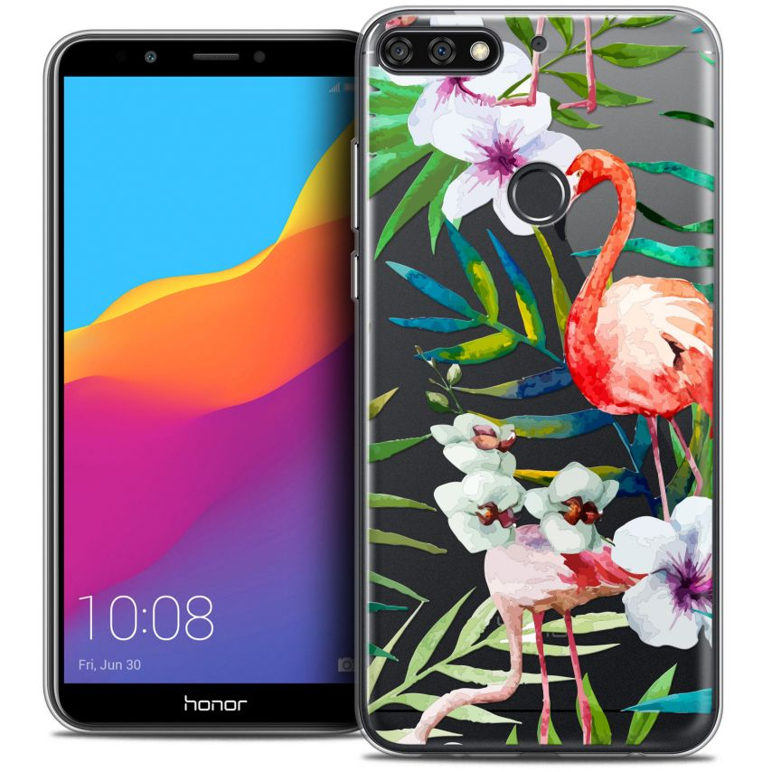 "Extra Slim Crystal Gel Honor 7C (5.99"") Case Watercolor Tropical Flamingo"