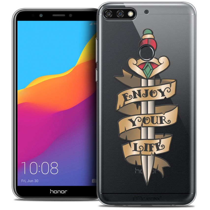 "Extra Slim Crystal Gel Honor 7C (5.99"") Case Tatoo Lover Enjoy Life"