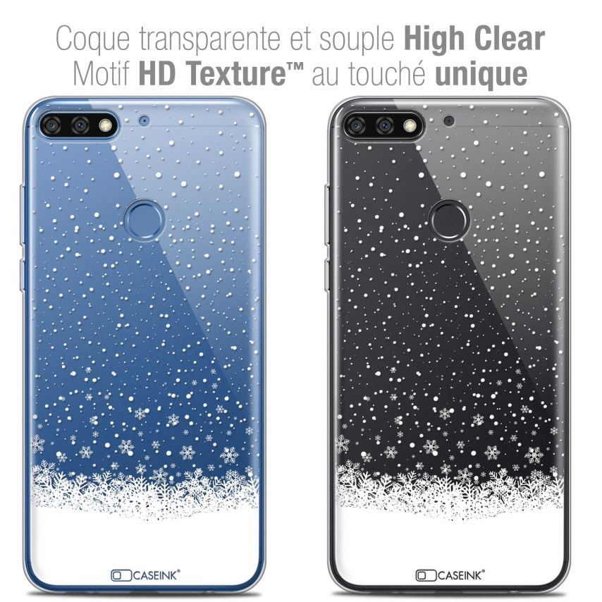 "Extra Slim Crystal Gel Honor 7C (5.99"") Case Noël 2017 Flocons de Neige"