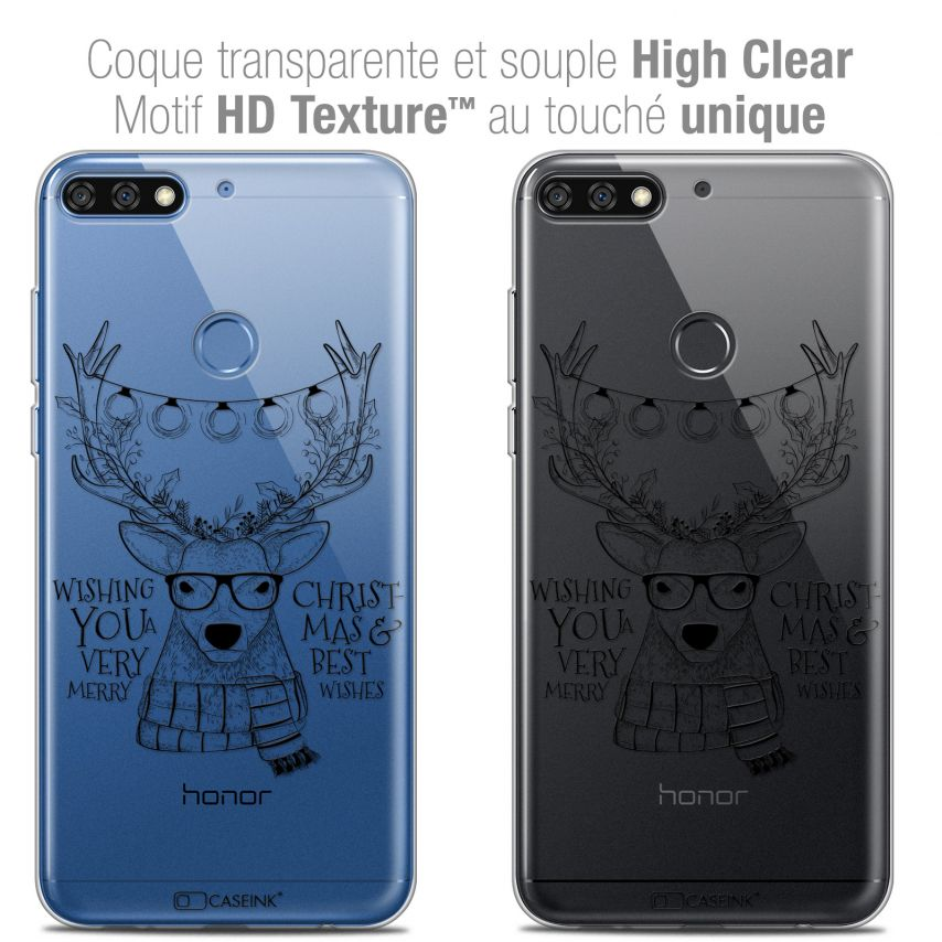"Extra Slim Crystal Gel Honor 7C (5.99"") Case Noël 2017 Cerf Hipster"