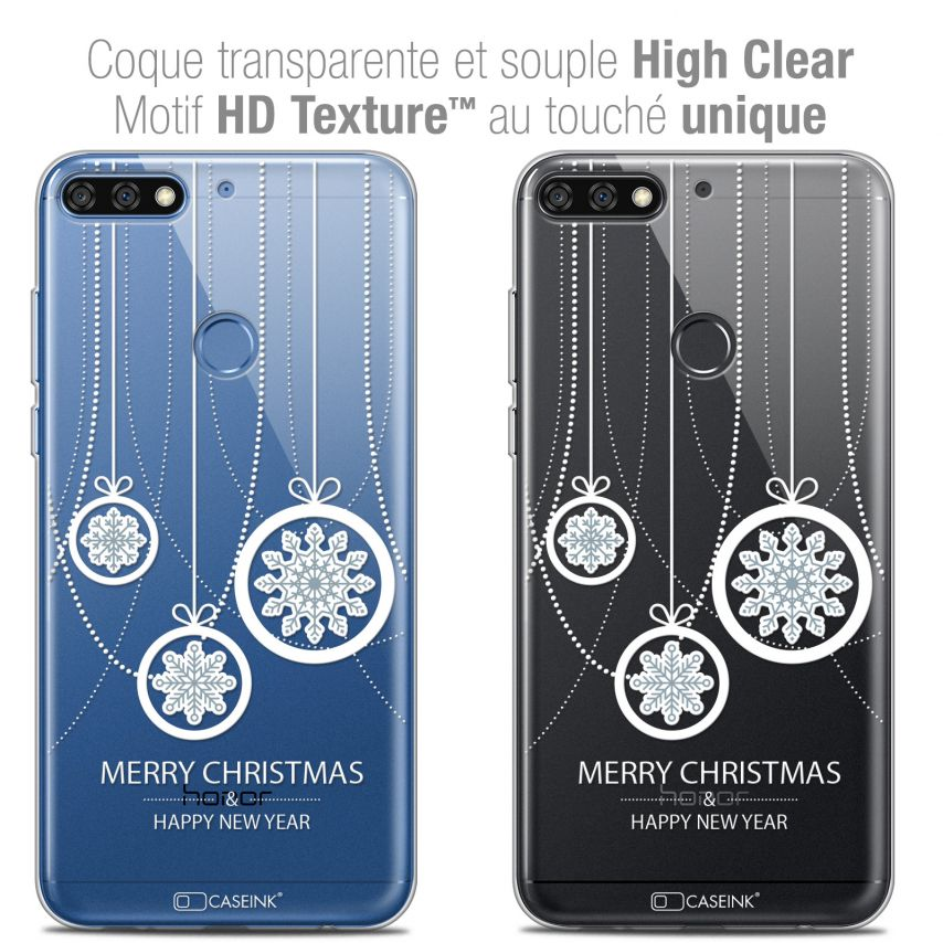 "Extra Slim Crystal Gel Honor 7C (5.99"") Case Noël 2017 Christmas Balls"