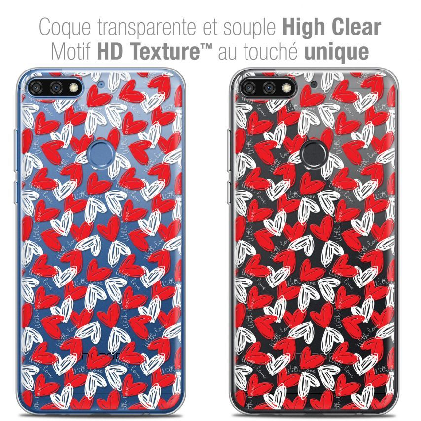 "Extra Slim Crystal Gel Honor 7C (5.99"") Case Love With Love"