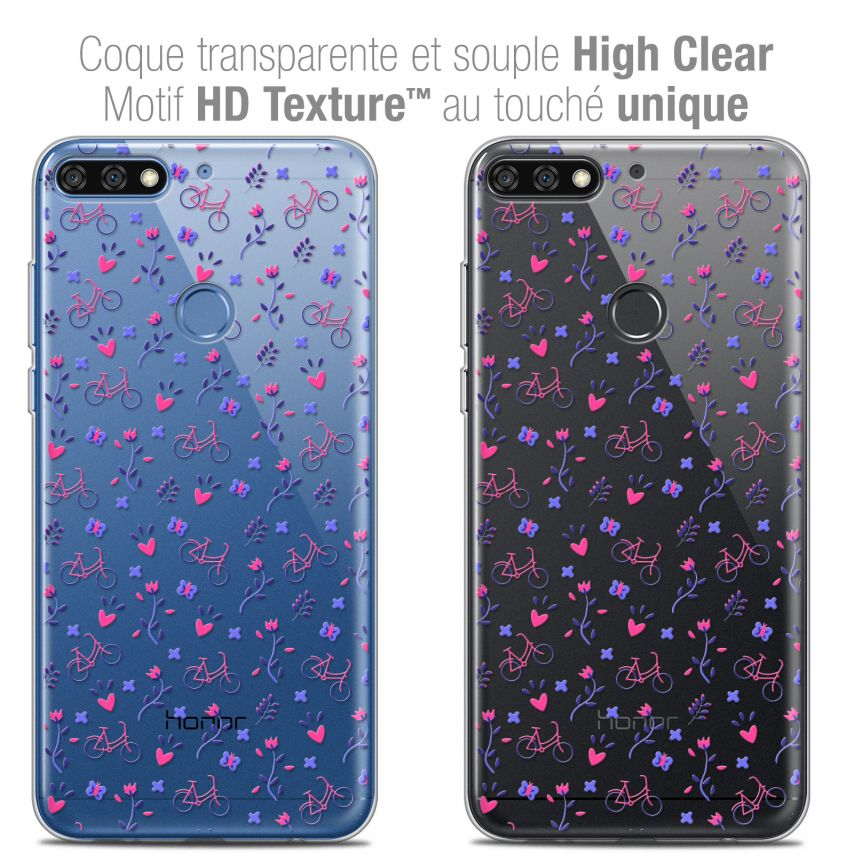 "Extra Slim Crystal Gel Honor 7C (5.99"") Case Love Bicycle"