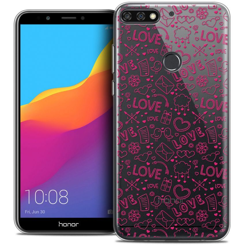 "Extra Slim Crystal Gel Honor 7C (5.99"") Case Love Doodle"