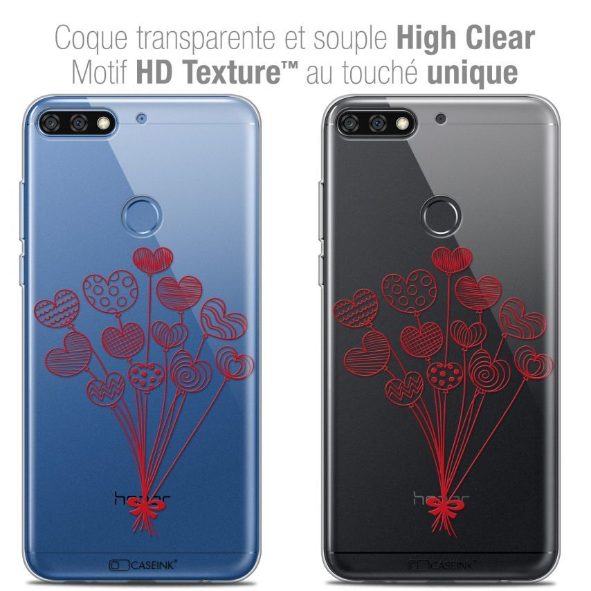 """Extra Slim Crystal Gel Honor 7C (5.99"""") Case Love Ballons d'amour"""
