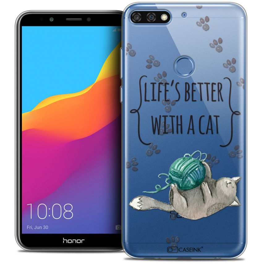 """Extra Slim Crystal Gel Honor 7C (5.99"""") Case Quote Life's Better With a Cat"""