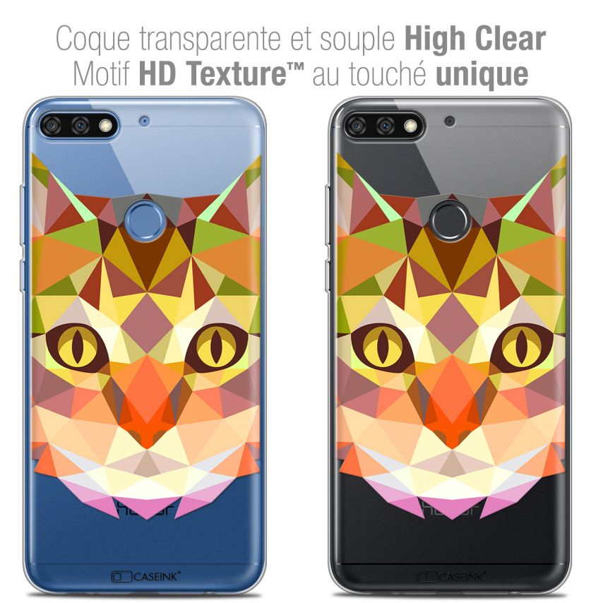 "Extra Slim Crystal Gel Honor 7C (5.99"") Case Polygon Animals Cat"