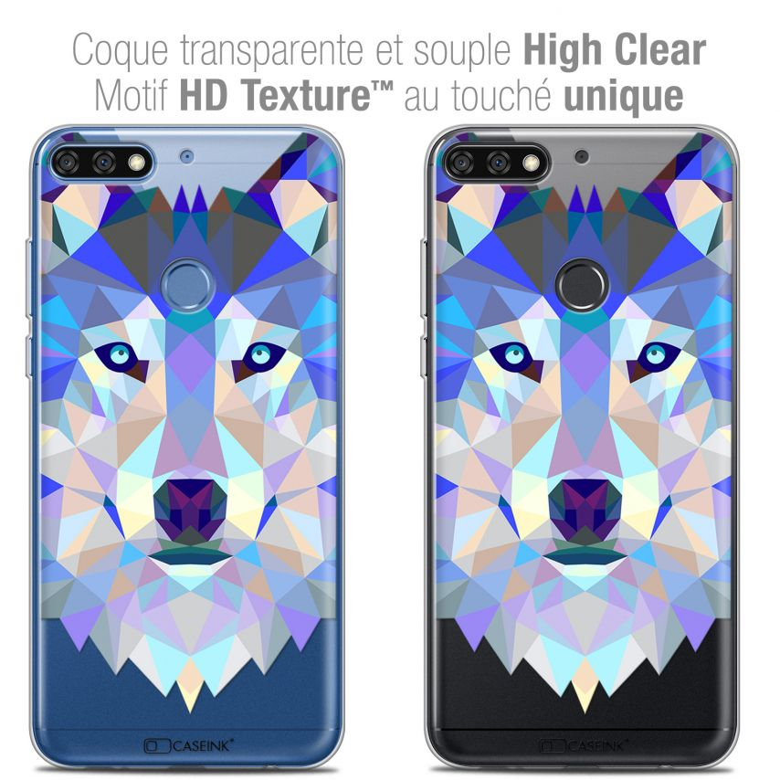 "Extra Slim Crystal Gel Honor 7C (5.99"") Case Polygon Animals Wolf"