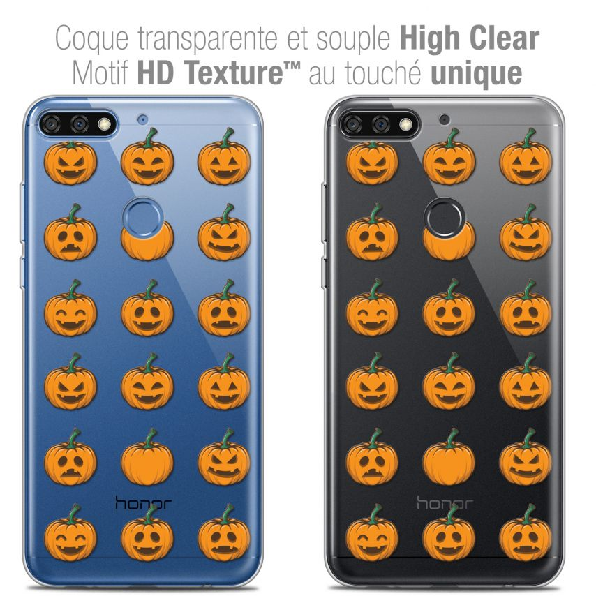 "Extra Slim Crystal Gel Honor 7C (5.99"") Case Halloween Smiley Citrouille"