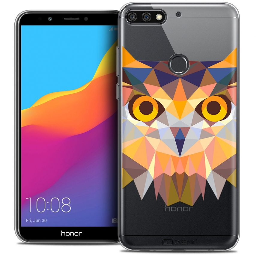 "Extra Slim Crystal Gel Honor 7C (5.99"") Case Polygon Animals Owl"
